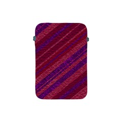 Maroon Striped Texture Apple Ipad Mini Protective Soft Cases by Mariart