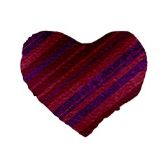 Maroon Striped Texture Standard 16  Premium Flano Heart Shape Cushions by Mariart