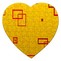 Overlap Squares Orange Plaid Red Jigsaw Puzzle (heart) by Mariart