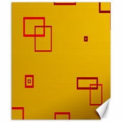 Overlap Squares Orange Plaid Red Canvas 8  X 10  by Mariart