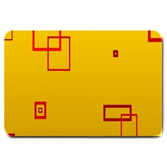 Overlap Squares Orange Plaid Red Large Doormat  by Mariart