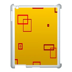 Overlap Squares Orange Plaid Red Apple Ipad 3/4 Case (white) by Mariart