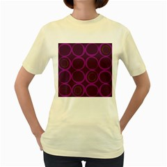 Original Circle Purple Brown Women s Yellow T Shirt by Mariart