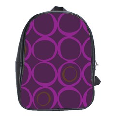 Original Circle Purple Brown School Bags (xl)  by Mariart