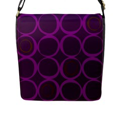 Original Circle Purple Brown Flap Messenger Bag (l)  by Mariart