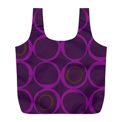 Original Circle Purple Brown Full Print Recycle Bags (l)  by Mariart
