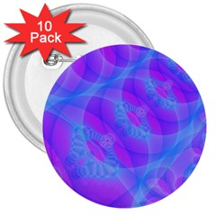 Original Purple Blue Fractal Composed Overlapping Loops Misty Translucent 3  Buttons (10 Pack)  by Mariart
