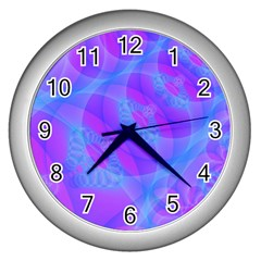 Original Purple Blue Fractal Composed Overlapping Loops Misty Translucent Wall Clocks (silver)  by Mariart