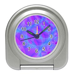 Original Purple Blue Fractal Composed Overlapping Loops Misty Translucent Travel Alarm Clocks by Mariart