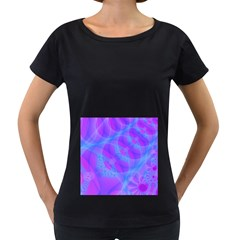 Original Purple Blue Fractal Composed Overlapping Loops Misty Translucent Women s Loose Fit T Shirt (black) by Mariart