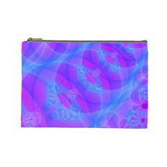 Original Purple Blue Fractal Composed Overlapping Loops Misty Translucent Cosmetic Bag (large)  by Mariart