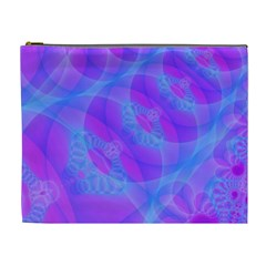 Original Purple Blue Fractal Composed Overlapping Loops Misty Translucent Cosmetic Bag (xl) by Mariart