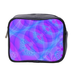 Original Purple Blue Fractal Composed Overlapping Loops Misty Translucent Mini Toiletries Bag 2 Side by Mariart