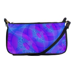 Original Purple Blue Fractal Composed Overlapping Loops Misty Translucent Shoulder Clutch Bags by Mariart