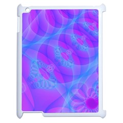 Original Purple Blue Fractal Composed Overlapping Loops Misty Translucent Apple Ipad 2 Case (white) by Mariart