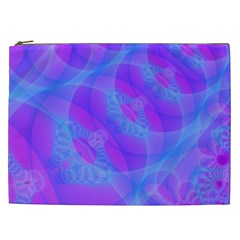 Original Purple Blue Fractal Composed Overlapping Loops Misty Translucent Cosmetic Bag (xxl)  by Mariart