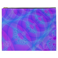Original Purple Blue Fractal Composed Overlapping Loops Misty Translucent Cosmetic Bag (xxxl)  by Mariart