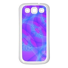 Original Purple Blue Fractal Composed Overlapping Loops Misty Translucent Samsung Galaxy S3 Back Case (white) by Mariart