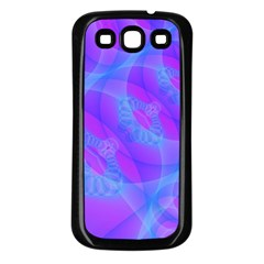 Original Purple Blue Fractal Composed Overlapping Loops Misty Translucent Samsung Galaxy S3 Back Case (black) by Mariart