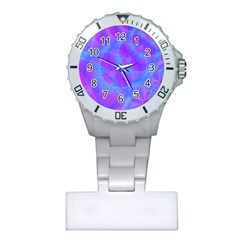 Original Purple Blue Fractal Composed Overlapping Loops Misty Translucent Plastic Nurses Watch by Mariart