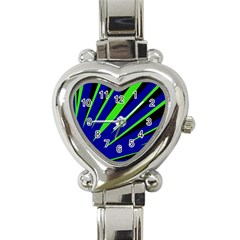 Rays Light Chevron Blue Green Black Heart Italian Charm Watch by Mariart