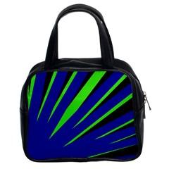 Rays Light Chevron Blue Green Black Classic Handbags (2 Sides) by Mariart