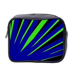 Rays Light Chevron Blue Green Black Mini Toiletries Bag 2 Side by Mariart