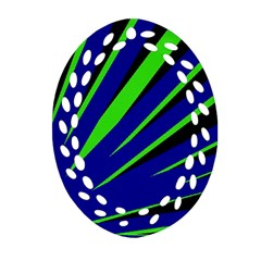 Rays Light Chevron Blue Green Black Oval Filigree Ornament (two Sides) by Mariart
