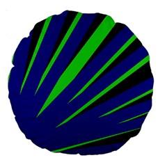 Rays Light Chevron Blue Green Black Large 18  Premium Round Cushions
