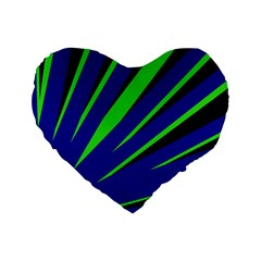 Rays Light Chevron Blue Green Black Standard 16  Premium Flano Heart Shape Cushions by Mariart