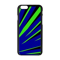 Rays Light Chevron Blue Green Black Apple Iphone 6/6s Black Enamel Case by Mariart