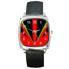 Rays Light Chevron Green Red Black Square Metal Watch by Mariart
