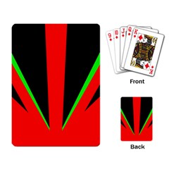 Rays Light Chevron Green Red Black Playing Card by Mariart