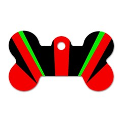 Rays Light Chevron Green Red Black Dog Tag Bone (one Side) by Mariart