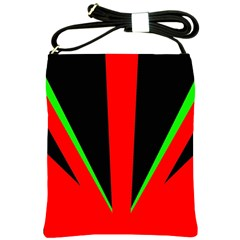 Rays Light Chevron Green Red Black Shoulder Sling Bags by Mariart