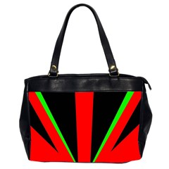 Rays Light Chevron Green Red Black Office Handbags (2 Sides)  by Mariart