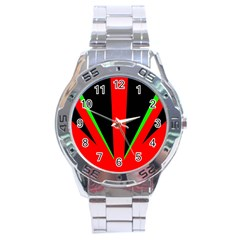 Rays Light Chevron Green Red Black Stainless Steel Analogue Watch by Mariart
