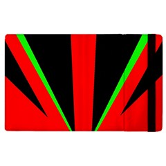 Rays Light Chevron Green Red Black Apple Ipad 2 Flip Case by Mariart