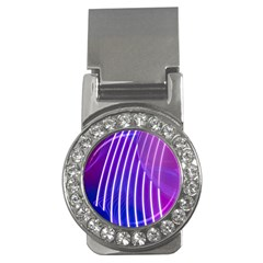 Rays Light Chevron Blue Purple Line Light Money Clips (cz)  by Mariart