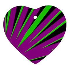Rays Light Chevron Purple Green Black Ornament (heart) by Mariart