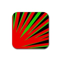 Rays Light Chevron Red Green Black Rubber Square Coaster (4 Pack)  by Mariart
