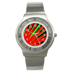 Rays Light Chevron Red Green Black Stainless Steel Watch by Mariart