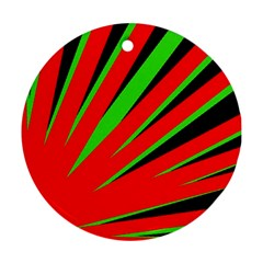 Rays Light Chevron Red Green Black Round Ornament (two Sides) by Mariart