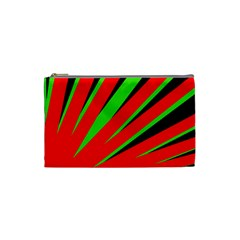 Rays Light Chevron Red Green Black Cosmetic Bag (small)  by Mariart