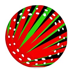 Rays Light Chevron Red Green Black Ornament (round Filigree) by Mariart
