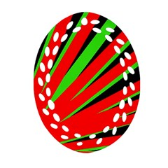 Rays Light Chevron Red Green Black Oval Filigree Ornament (two Sides) by Mariart