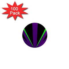 Rays Light Chevron Purple Green Black Line 1  Mini Magnets (100 Pack)  by Mariart