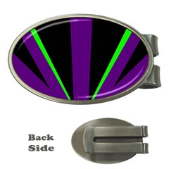 Rays Light Chevron Purple Green Black Line Money Clips (oval)  by Mariart