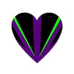 Rays Light Chevron Purple Green Black Line Heart Magnet by Mariart
