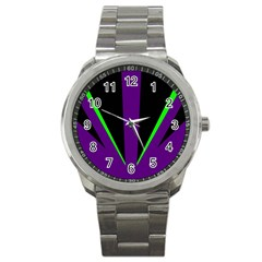 Rays Light Chevron Purple Green Black Line Sport Metal Watch by Mariart